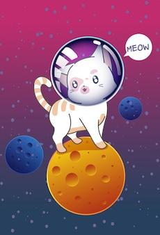 Katze auf dem planeten im weltall.