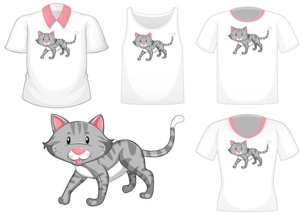 Katze-cartoon-figur mit verschiedenen hemden auf weißem hintergrund
