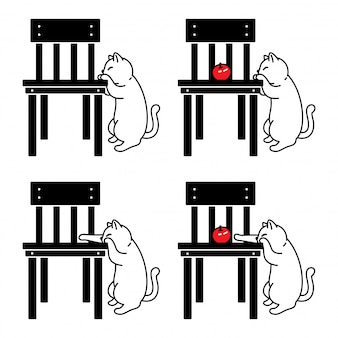 Katze cartoon kätzchen stuhl apfel illustration