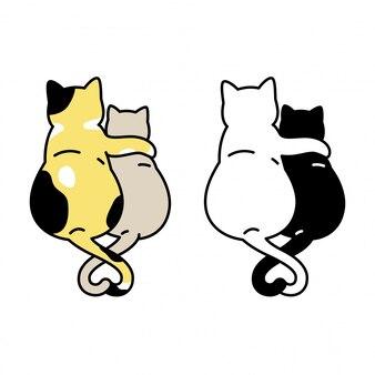 Katze cartoon kätzchen umarmung illustration