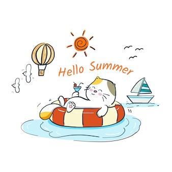 Katze des handabgehobenen betrages entspannen sich im sommer
