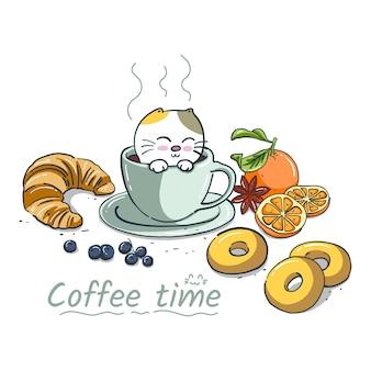 Katze des handabgehobenen betrages mit kaffee