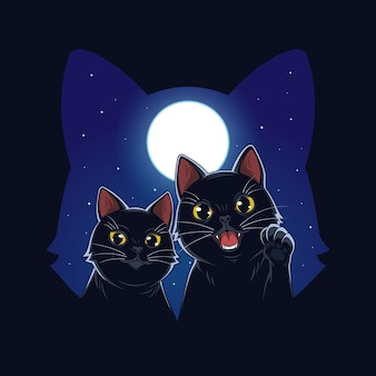 Katze des mondlichtillustrationsvektors