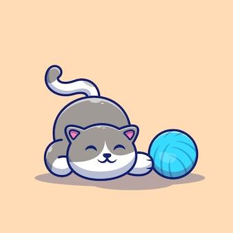 Katze, die ball-symbol-illustration spielt. nette katze mit garnball.