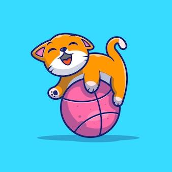 Katze, die ballillustration spielt. nette katze mit garnball.