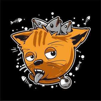 Katze, die betrunken ist, weil sie zu viel fisch gegessen hat