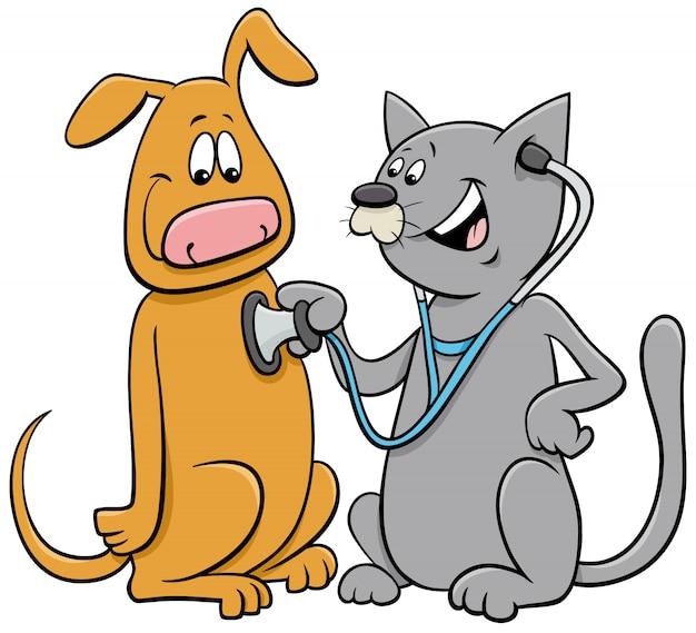 Katze, die den hund mit stethoskopkarikatur untersucht