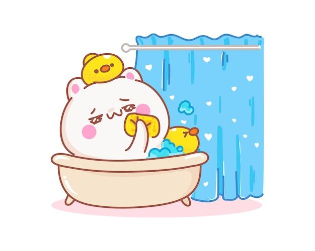Katze, die in der badewanne mit entenkarikaturillustration liegt