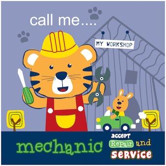 Katze die lustige tierkarikatur des mechanikers
