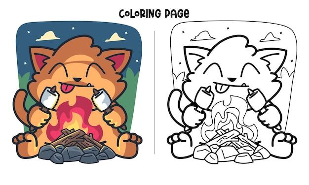 Katze, die marshmallow in der nacht röstet