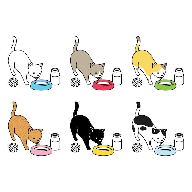 Katze, die milchikonencharakterkarikatur isst