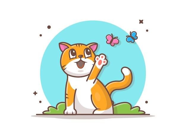 Katze, die mit schmetterlingen im park spielt