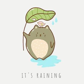 Katze, die regenschirm hält, verlassen im regnerischen tierkarikatur niedlich