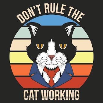 Katze, die retro arbeitet