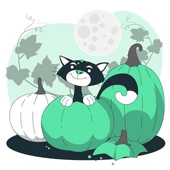 Katze, die von einer kürbiskonzeptillustration aufsteigt