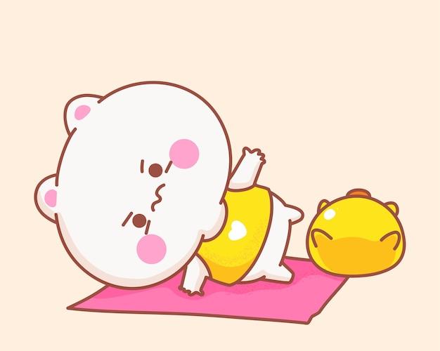Katze, die yoga mit entenkarikaturillustration spielt