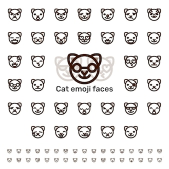Katze emoji gesichter linie