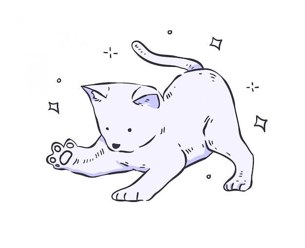 Katze gekritzel. katze abbildung Premium Vektoren