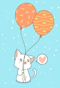 Katze hält luftballons.