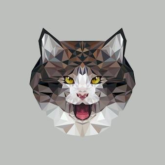Katze im polygonalen stil. dreieckvektorillustration des tieres für gebrauch als druck auf t-shirt und plakat