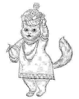 Katze in afrikanischer nationalkleidung trägt einen korb mit früchten auf dem kopf. schwarze schraffurillustration des weinlesevektors lokalisiert auf weißem hintergrund. handgezeichnetes design für t-shirt