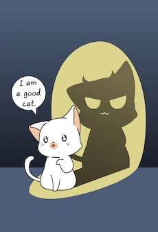 Katze in der dunklen seite in der karikaturart.