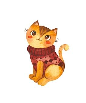 Katze in einem gestrickten pullover. netter kätzchencharakter. maskottchen von waren für haustiere. strickwaren für katzen. winterpostkarte. aquarell hand gezeichnete illustration.