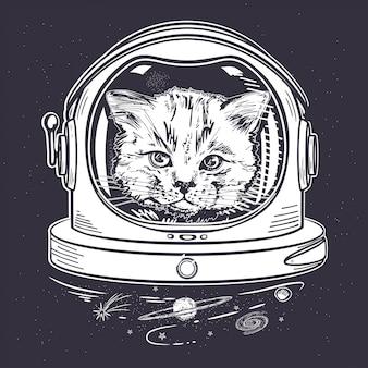 Katze in einem weltraumhelm. astronaut. porträt einer katze.