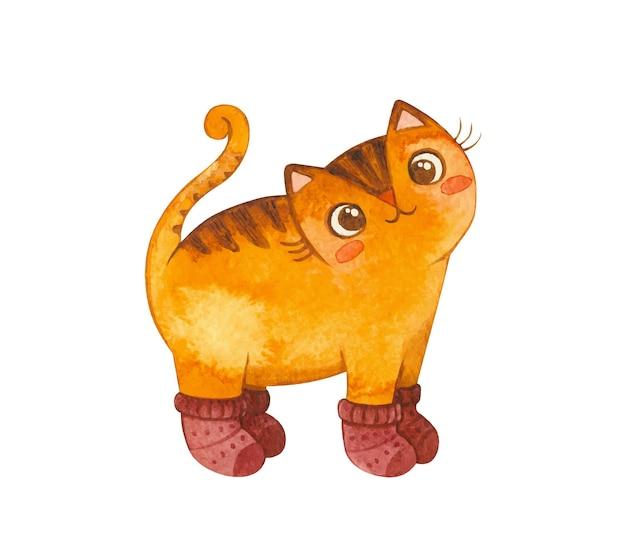 Katze in kleinen strickstrümpfen. netter kätzchencharakter. maskottchen von waren für haustiere. strickwaren für katzen. winterpostkarte. aquarell hand gezeichnete illustration.