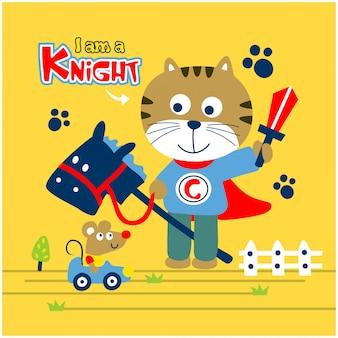 Katze ist ein ritter, der mit lustigem tier-cartoon der maus spielt