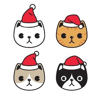 Katze kätzchen santa claus hut weihnachten zeichentrickfigur