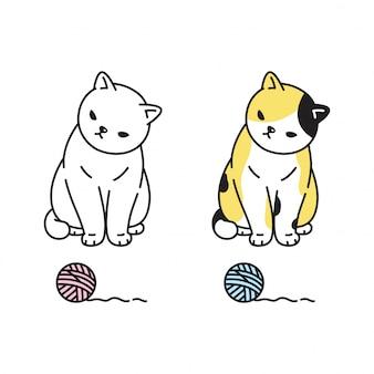 Katze kätzchen spielzeug cartoon charakter garn ball