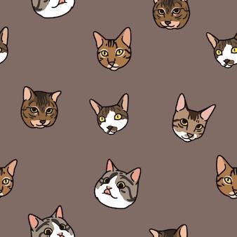 Katze köpfe muster
