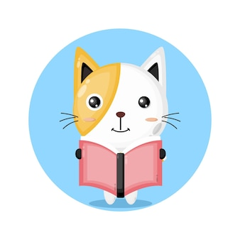 Katze liest ein süßes charakterlogo aus einem buch