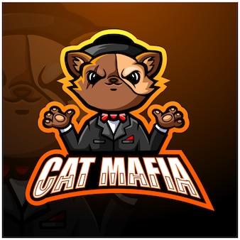 Katze mafia maskottchen esport illustration