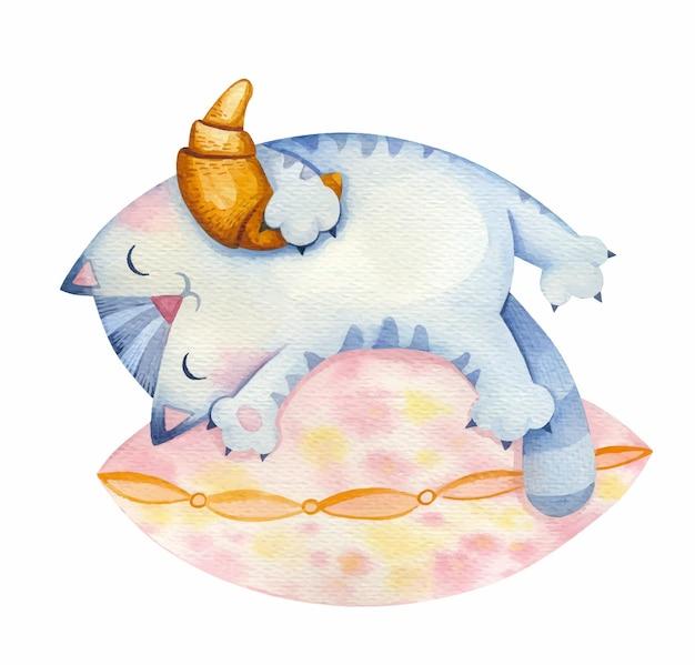 Katze mit einem croissant in den händen schläft auf dem kissen