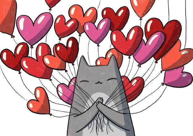 Katze mit herzbällen