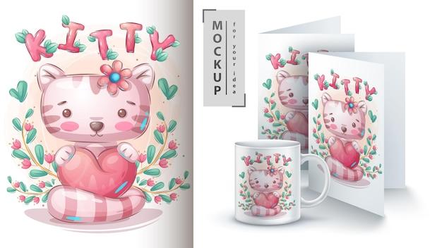 Katze mit herzplakat und merchandising