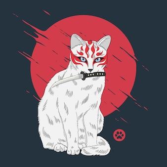 Katze mit kitsune-maskenillustration auf japanischem stil
