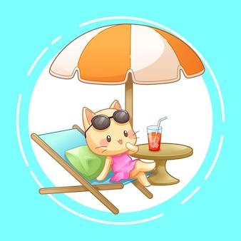 Katze mit klappstuhl und regenschirm auf dem strand, vektor