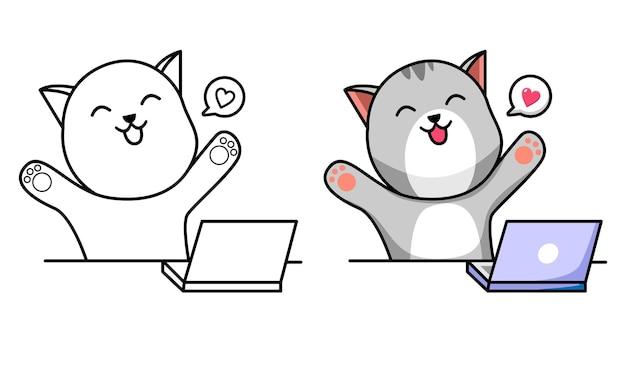 Katze mit laptop malvorlagen für kinder