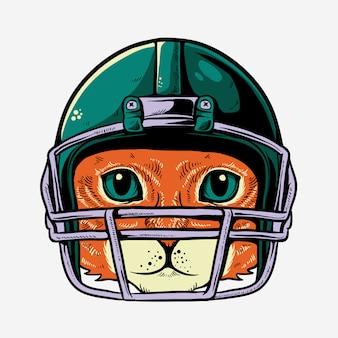 Katze mit sturzhelm der spielerillustration des amerikanischen fußballs