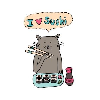 Katze mit sushi