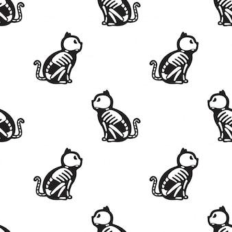 Katze nahtlose muster halloween kätzchen knochenskelett cartoon