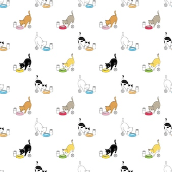 Katze nahtlose muster kaliko kätzchen cartoon futternapf
