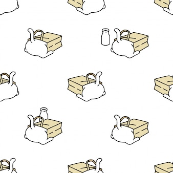 Katze nahtloses muster kätzchen papiertüte cartoon haustier