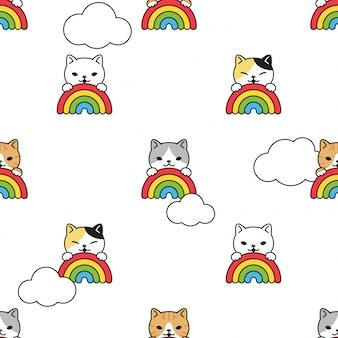 Katze nahtloses muster kätzchen regenbogen himmel wolke cartoon haustier illustration