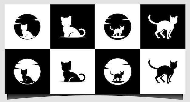 Katze niedliche logo-design-vorlage