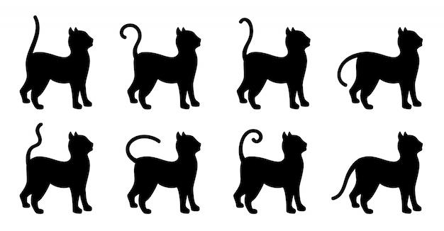 Katze niedlichen schwarzen silhouette cartoon-set. tierkätzchen mit verschiedenen rückständen