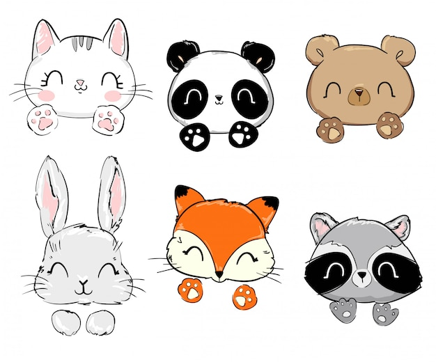 Katze, panda, bär, hase, fuchs, waschbär.